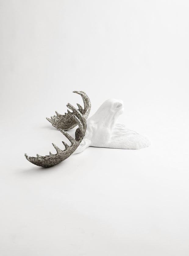 The Theodora | Moose Head | Faux Taxidermy | White Moose Head W/Silver Glitter Antlers