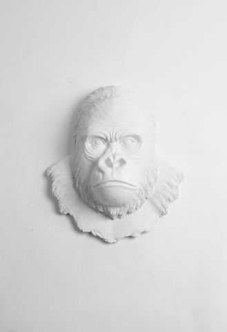 The Mambo in White, Gorilla Head Wall Mount