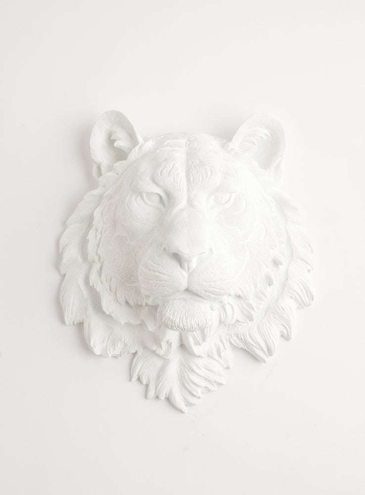 The Theodore | Tiger Head | Faux Taxidermy | White Resin