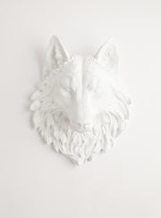 Large white faux wolf head wall mount