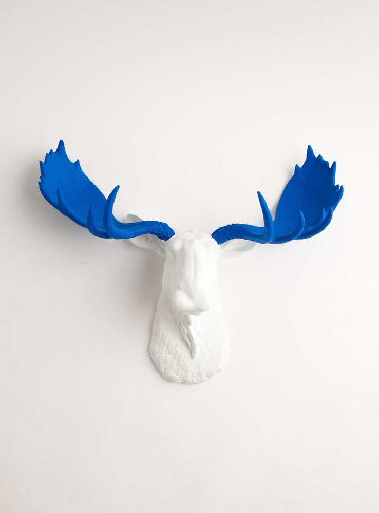 White Faux Moose Head Wall Mount With Blue Antlers The