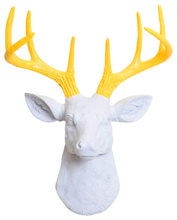 mini white resin deer head sculpture & yellow antler decor wall hanging