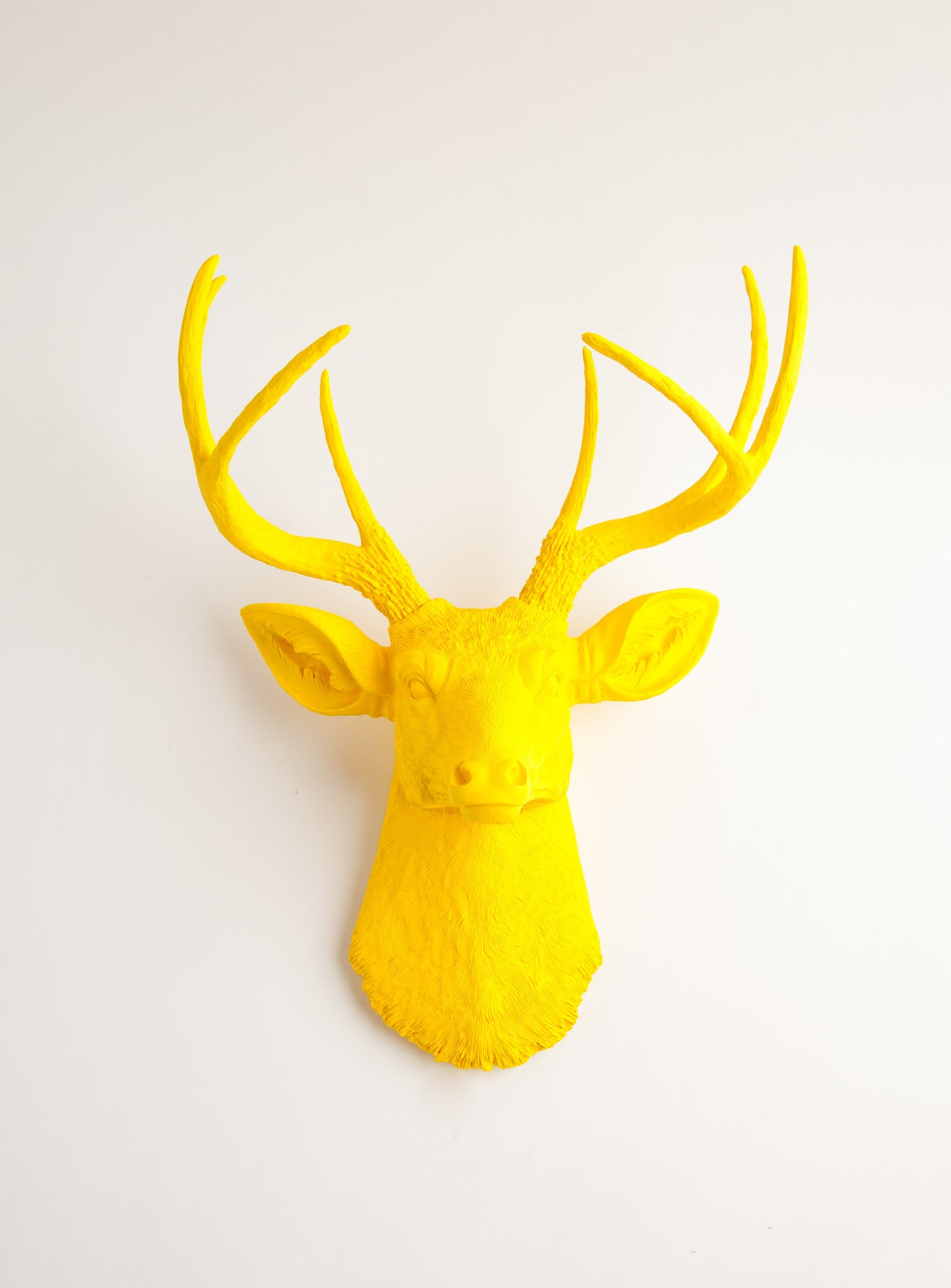 Yellow Deer Head Wall Mount, The Pablo By White Faux Taxidermy Decor