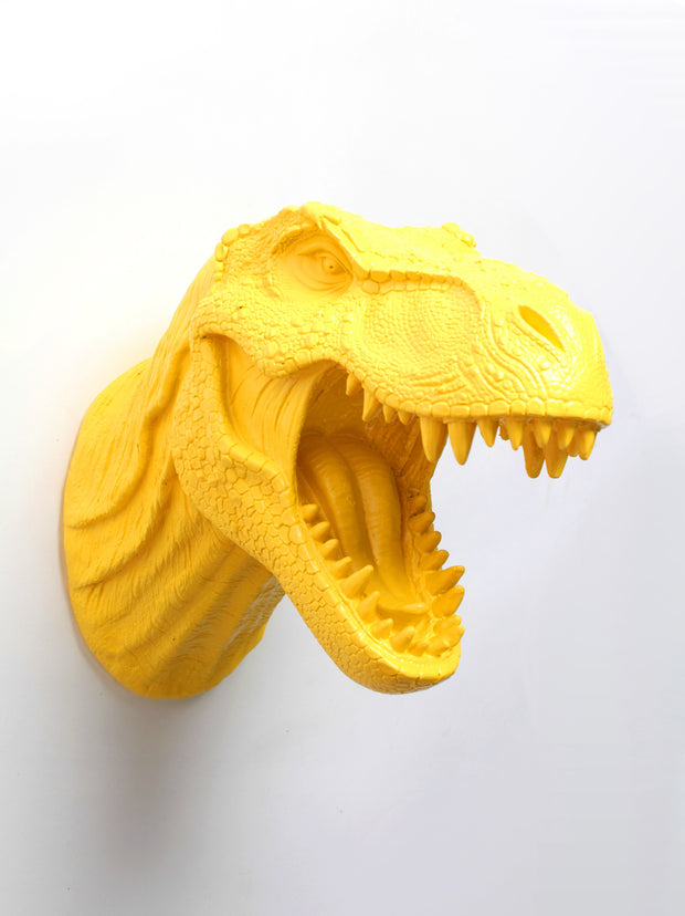 Yellow T Rex Dinosaur Head Wall Mount