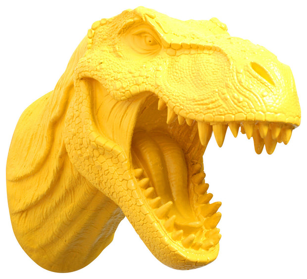 yellow t rex dinosaur head trophy wall mount