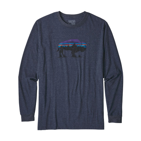 Patagonia Men's Long-Sleeved Fitz Roy Bison Cotton/Poly T-Shirt