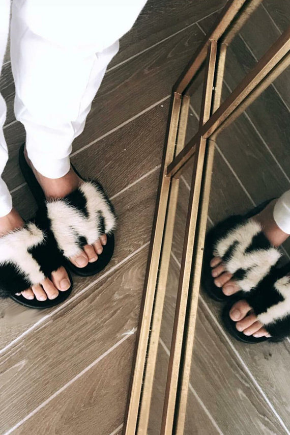 Mix & Match Parka Personalised Black & White Mink Fur Slides-Shoes- onlyours.de
