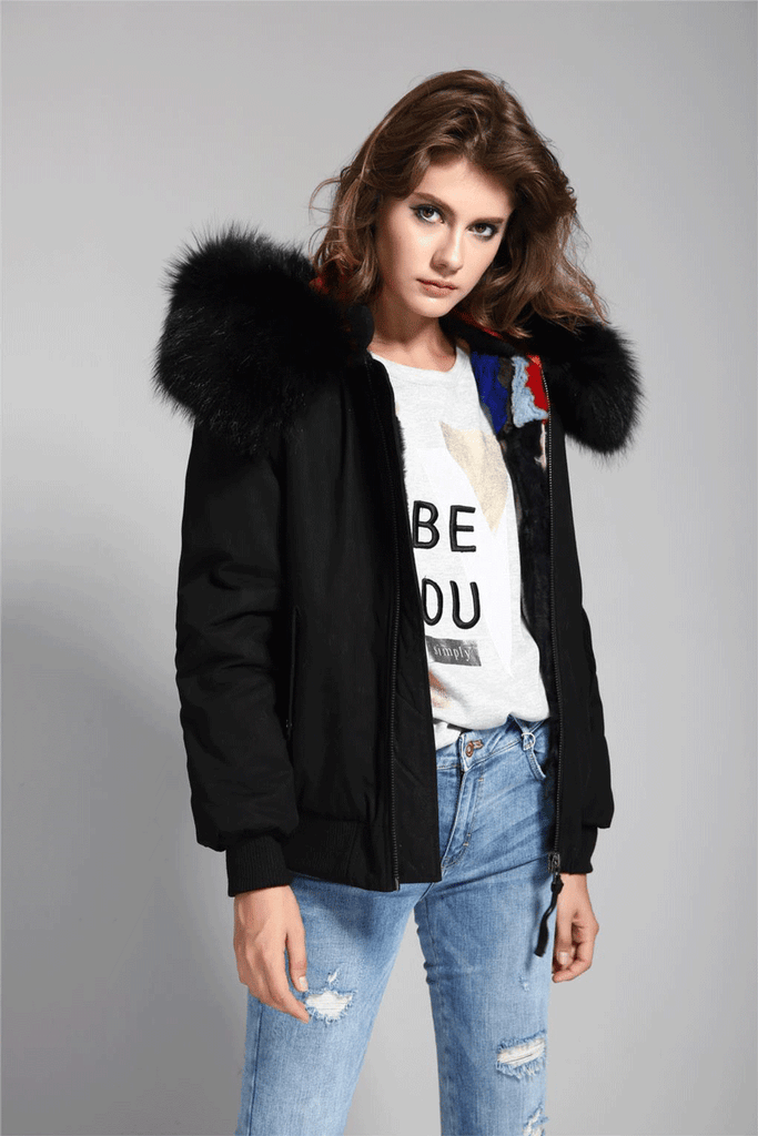 Mix & Match Parka Mix & Match Bomberjacket Premium with Brown Collar-Bomberjacket- onlyours.de