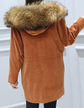 Mix & Match Parka Mix & Match Long Oversized Cord Parka | Brown Collar-- onlyours.de