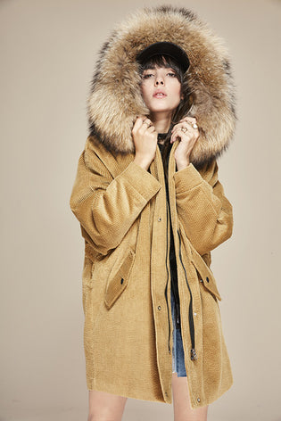 Mix & Match Long Oversized Cord Parka | Brown Collar-- onlyours.de