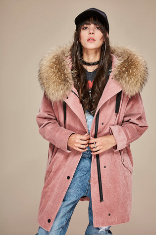 Mix & Match Long Oversized Cord Parka-- onlyours.de