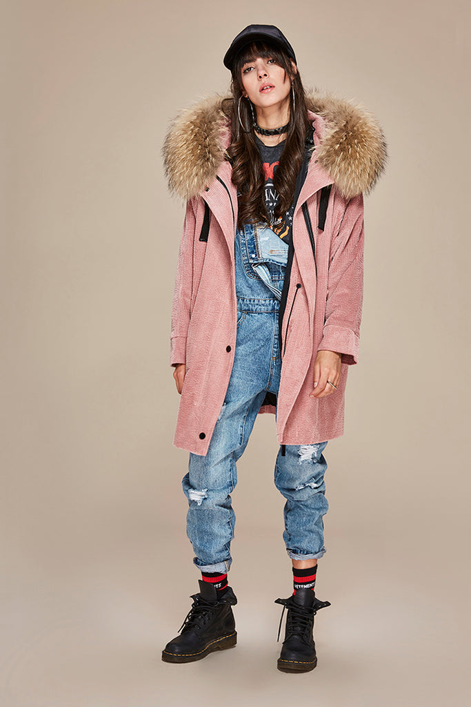 Mix & Match Parka Mix & Match Long Oversized Cord Parka-- onlyours.de