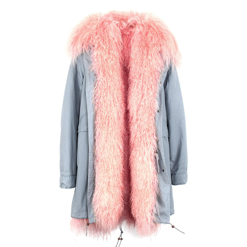 Mix & Match Parka Mix & Match Long Mongolian Sheep Fur Parka-Mix & Match Long Parka- onlyours.de