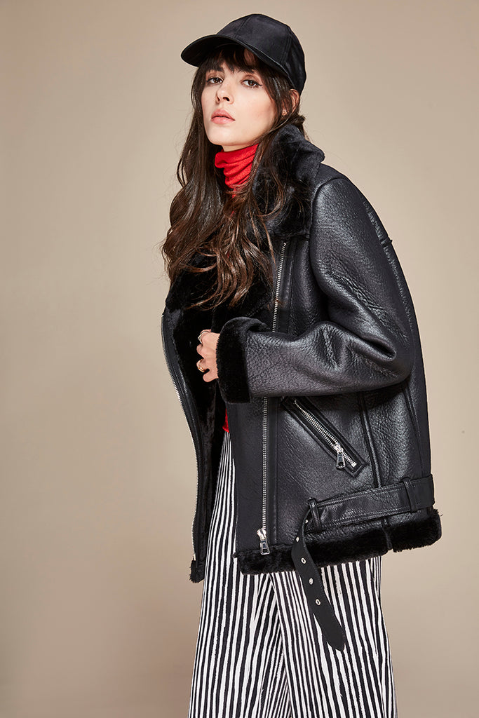 Mix & Match Parka Pu Leather Jacket Long Sleeve-Leather Jacket- onlyours.de