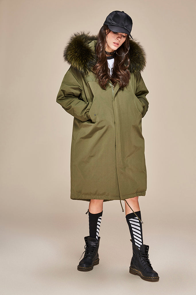 Mix & Match Parka Mix & Match Oversized Waterproof Parka + Silver Fox Collar-Mix & Match Long Parka- onlyours.de