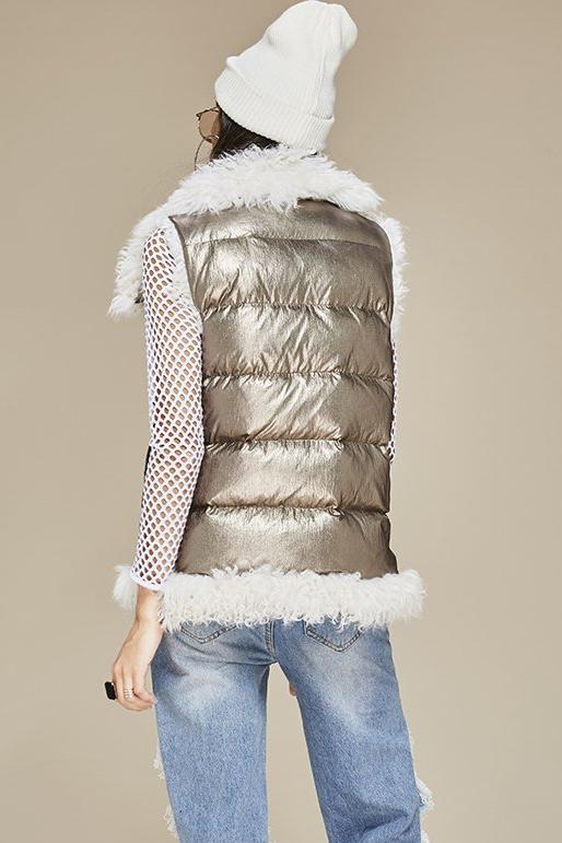 Mix & Match Parka Sleeveless Silver Down Vest-Vest- onlyours.de