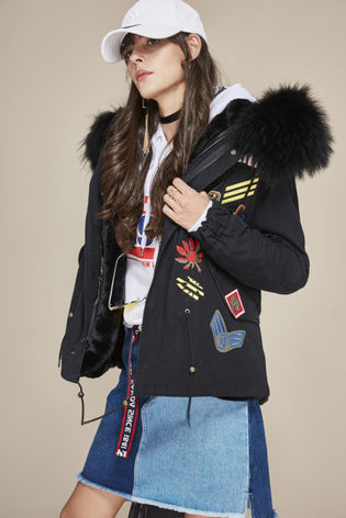 Mix & Match Short Parka With Batches-Mix & Match Short Parka- onlyours.de