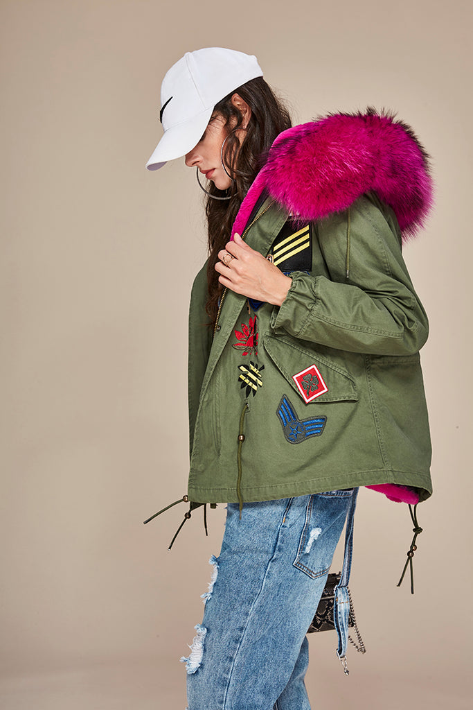 Mix & Match Parka Mix & Match Short Parka With Batches-Mix & Match Short Parka- onlyours.de