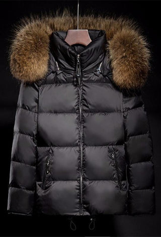 Mix & Match Parka Black Down Jacket + XXL Raccoon Fur-Down Parka- onlyours.de