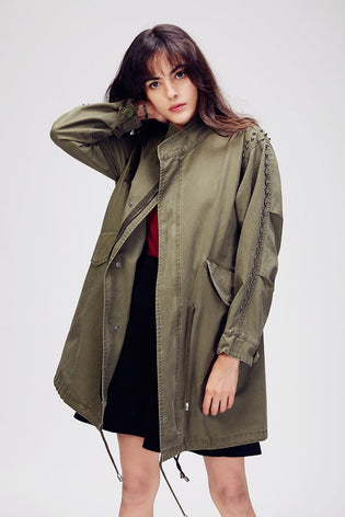 Mix & Match Parka Studded Trench Coat-Trench- onlyours.de