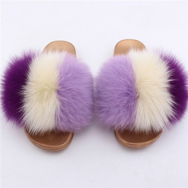 Mix & Match Parka Mix & Match Multicolor Fox Fur Slides-Shoes- onlyours.de