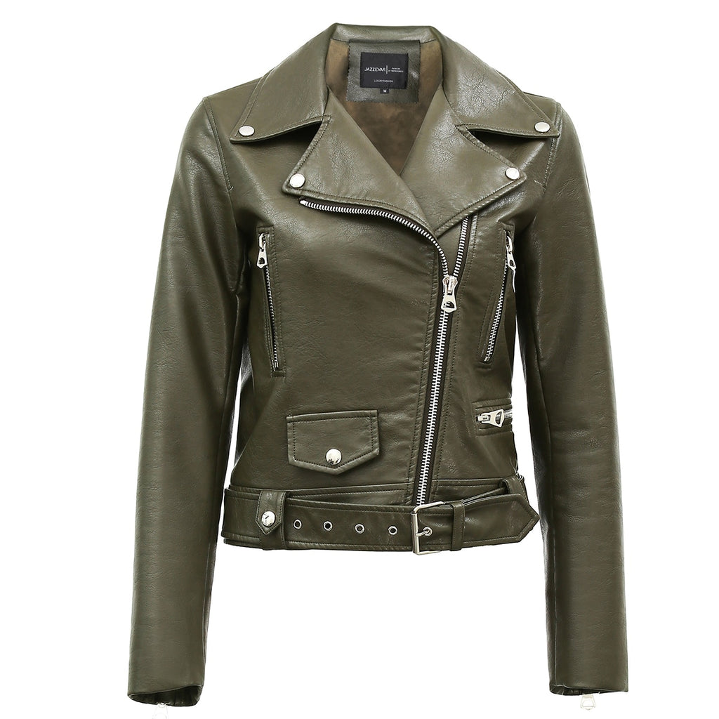 Mix & Match Parka Washed PU Leather Jacket-Leather Jacket- onlyours.de