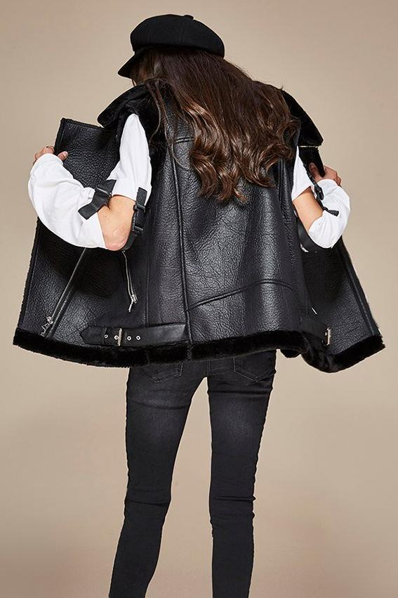 Mix & Match Parka PU Leather Jacket Sleeveless-Leather Jacket- onlyours.de