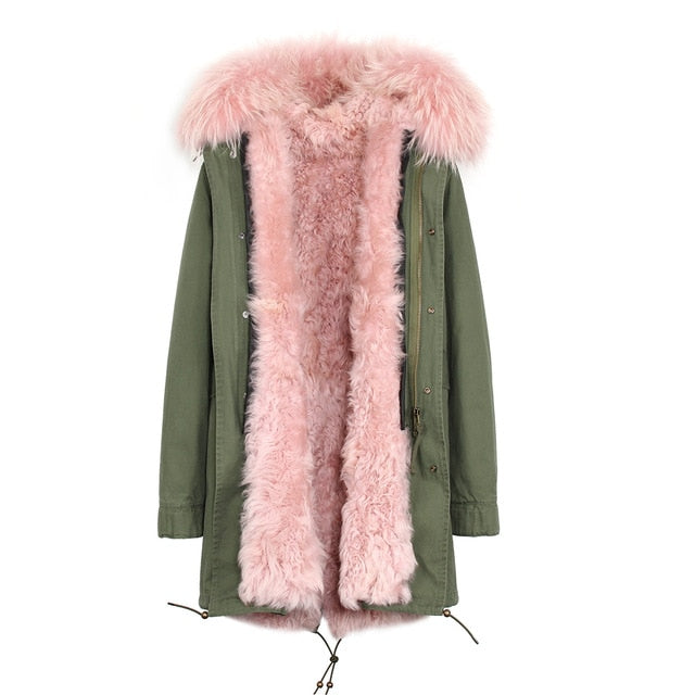 Mix & Match Parka Mix & Match Long Parka Lamb Fur Hood-Mix & Match Long Parka- onlyours.de
