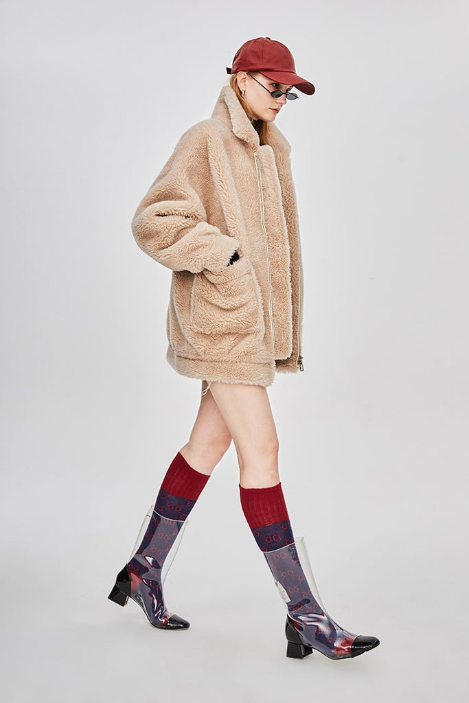 Mix & Match Parka Short Oversized Sheep Fur Teddy Coat-Coat- onlyours.de