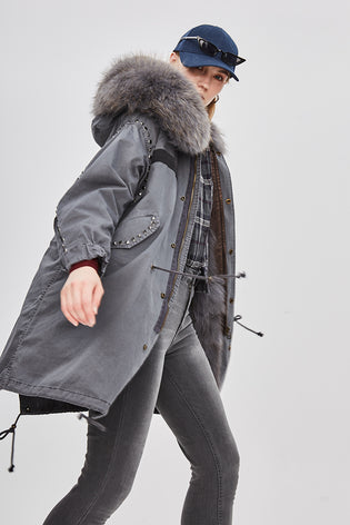 Mix & Match Long Studded Oversized Parka-Mix & Match Long Parka- onlyours.de