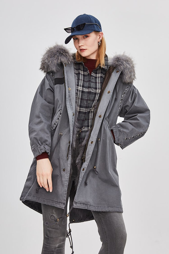 Mix & Match Parka Mix & Match Long Studded Oversized Parka-Mix & Match Long Parka- onlyours.de