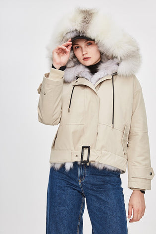 Mix & Match Parka Detachable Fox Fur Biker Jacket-Jacket- onlyours.de