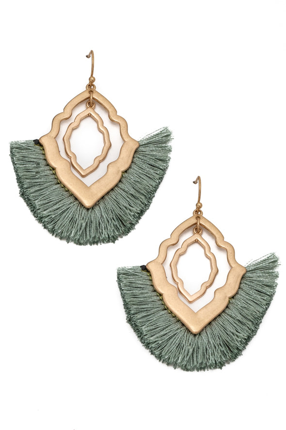 Metallic Intricate Fringe Earrings