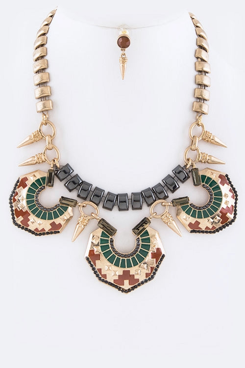 Tribal Dagger & Shield Necklace Set