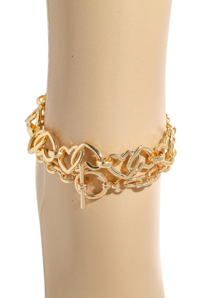Layered Heart Chain Link Anklet