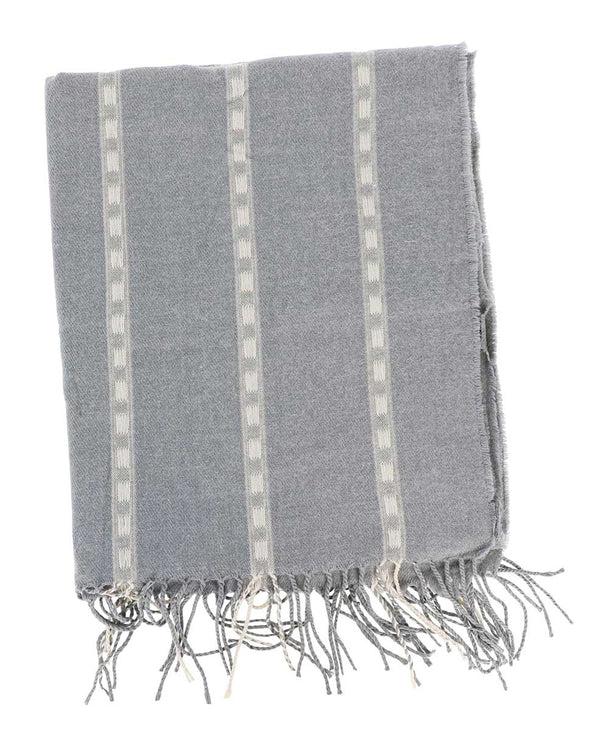 Grey Oblong Scarf with Tassels