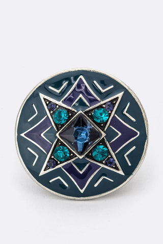 Crystal Enamel Wheel Stretch Ring