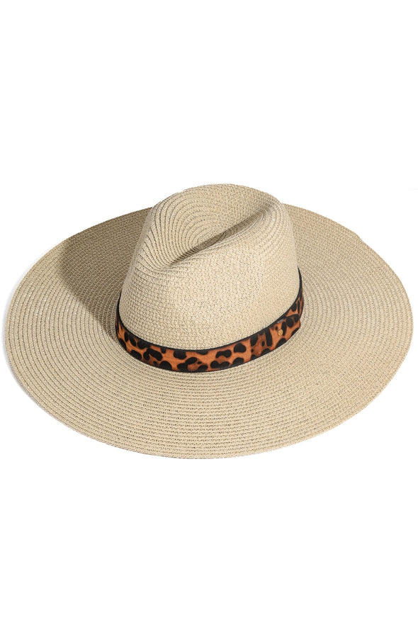 Leopard Ribbon Straw Sun Hat