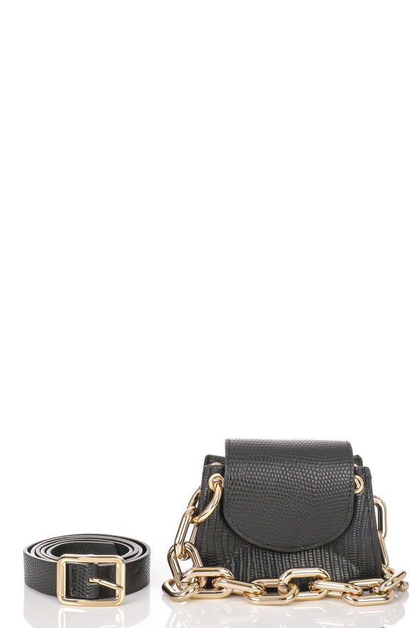 Faux Leather Animal Print  Belt Bag