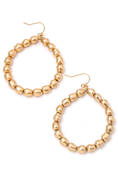 Gold Matte Beaded Hoops