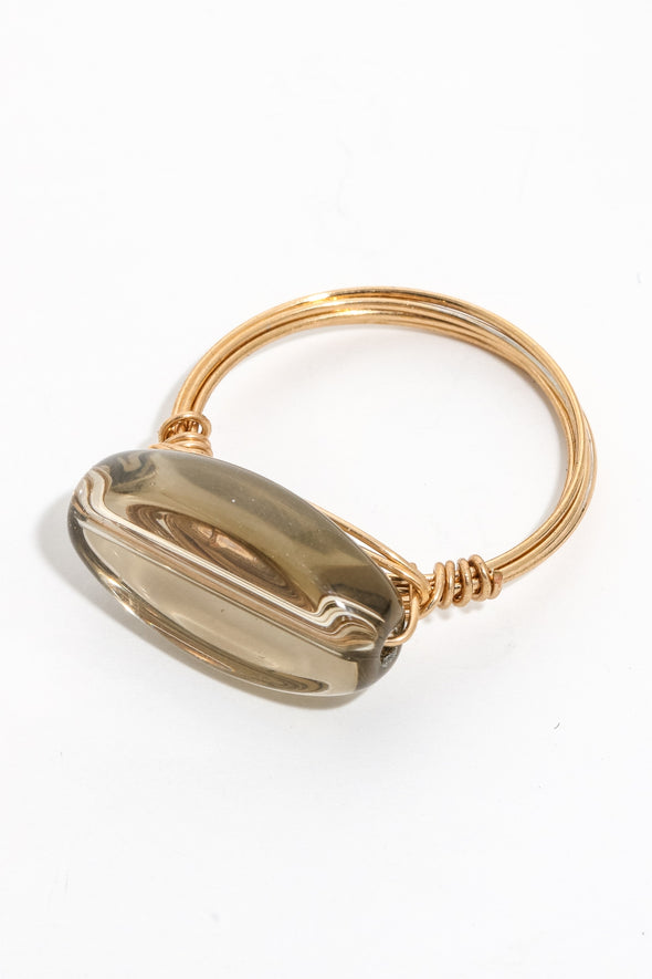 Oval Gem Layered Band Ring
