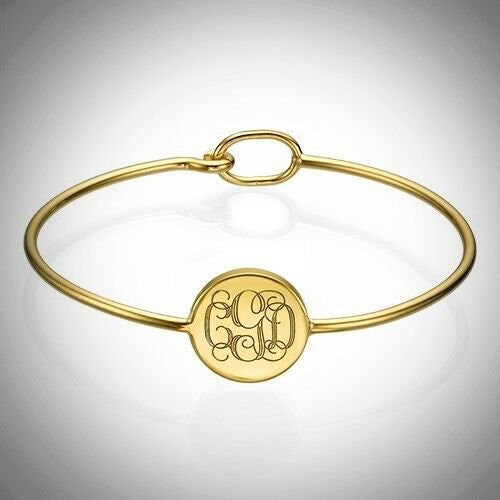 Gold Plated Monogram Bangle Bracelet