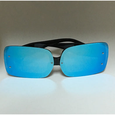 Oversized Square Mirror Shades (Blue)