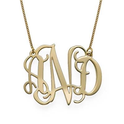 10k Solid Gold Monogram Necklace
