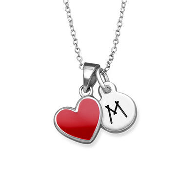 Kids Red Heart Initial Necklace