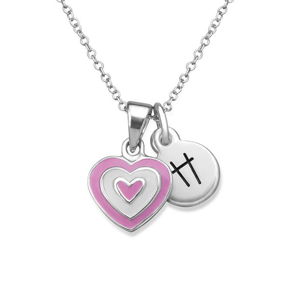 Kids Pink Heart Initial Necklace