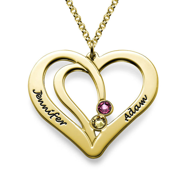 18K Gold Couples Heart Necklace
