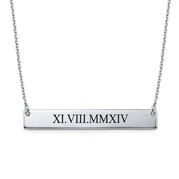 Roman Numeral 18K Gold Plated Bar Necklace