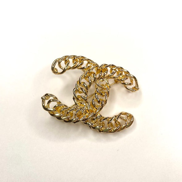 Double C Chain Brooch