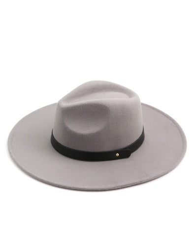 Black Leather Strap Fedora Hat